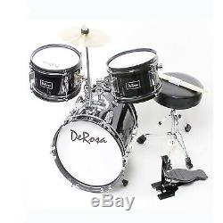 3 PC 12 Black Starter Drum Set Kid Music Class Band Perfect Gift for 2-5yr olds