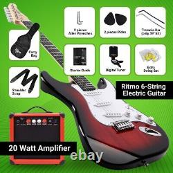 39 Inch Electric Guitar and Amplifier Complete Kit Beginners Starter Set Red