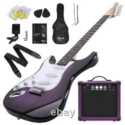 39 Inch Left Handed Electric Guitar Amp Complete Bundle Kit Starter Set Purple
