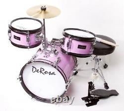 3PC PINK Drum Set Starter Band 12 Great Gift KIDS Learn To Play 2-5 Year Old