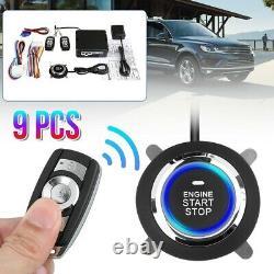 9PCS Car Alarm System Engine Start Push Button Remote Starter Keyless Entry Set