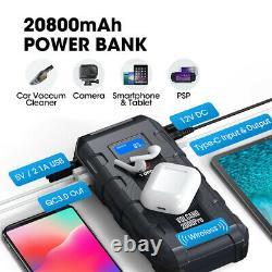 Auto Car Jump Starter 2000A Battery Booster 20800mAh Power Bank Wireless Charger