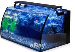 Curve Glass Fish Aquarium Tank Starter Set Kit 8 Gallon LED Pet Fresh Water