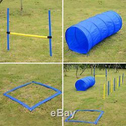 Dog Agility Starter Kit Pet Outdoor Exercise Training Set Tunnel Weave Pole