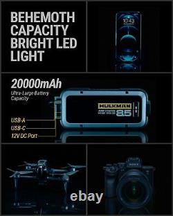 HULKMAN 85S 2000A Peak SuperSafe Car Jump Starter 20000mAh 8.5L Gas and 6L