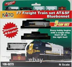 KATO 1066273 N SCALE 5 UNIT Freight Train Set with ATSF F7A Bluebonnet 106-6273