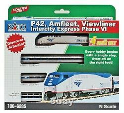 KATO 1066285DCC N AMTRAK PhVI P42 LOCO + 3 CARS Amfleet Viewliner Set with DCC