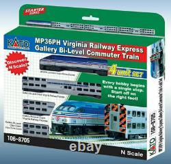 KATO 1068705 N Scale MP36PH Virgina RW Gallery Bi-Level Commuter Set 106-8705