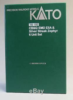 KATO N SCALE CB&Q EMD E5A SILVER STREAK ZEPHYR Engine Car Set diesel KAT106-090