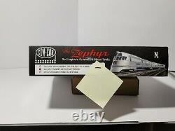 NEW Con-Cor Pioneer Zephyr 001-8731 Set, N Scale, Burlington, + 4th Add-On Car