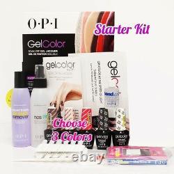 OPI GelColor Soak Off Gel Starter Intro Icons Kit Base Top+3 O. P. I Color Set+