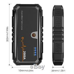 Portable Jump Starter 2000A Battery Power Bank Pack LED 12V Car Truck Jumper Box