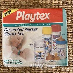 VINTAGE Playtex Drop-Ins DECORATED NURSER STARTER SET Bottles, Nipples, & line