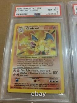 1999 Pokemon Base Set Big 3 Starter Set Charizard Venusaur Blastoise All Psa 8