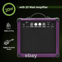 39 Pouces À Gauche Guitare Électrique Amplet Complet Kit De Démarrage Set Violet