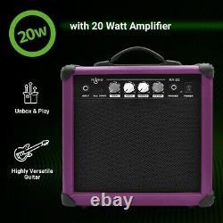 39 Pouces Guitare Électrique Et Amplificateur Complete Kit Beginner Starter Set Purple
