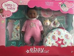 American Girl Bitty Baby Doll Starter Set Collection Dark Skin Brown Cheveux Yeux