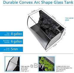Curve Verre Poisson Aquarium Starter Set Kit 8 Led Gallon Pet Eau Douce