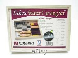 Flexcut Flexsk108 21 Piece Sk108 Deluxe Starter Bois Couteau À Découper Ensemble D'outils