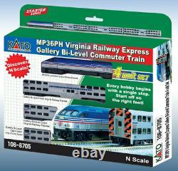 Kato 106-8705 N Échelle Mp36ph Virgina Railway Gallery Bi-level Commuter Train Set