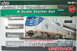 Kato 1060017 N Amtrak P42 Superliner Starter Set Avec Unitrack Puissance Pk 106-0017