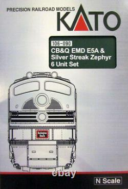 Kato 106090 N Scale Cb&q Emd E5a & Silver Streak Zephyr Loco Et 5 Cars 106-090