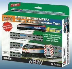 Kato 1068701 N Metra Mp36ph # 427 Bi-niveau Set Commuter Loco + 3 Voitures 106-8701