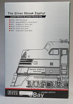 Kato N Échelle Cb & Q Emd E5a Silver Streak Zephyr Moteur Diesel De Voitures Set Kat106-090