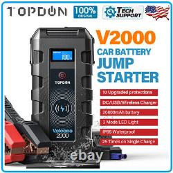 Portable V2000 Batterie Booster Pack Chargeur Power Jump Starter Box Heavy Duty