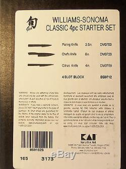 Shun Classic 4 Pièces Starter Set 6 Chef Cuisinier, 4 Citrus, 3.5 Couteau À Éplucher, Bloc